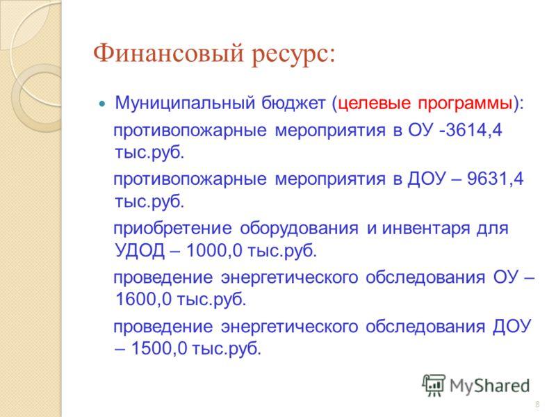 8 Финансовый ресурс: Муниципальный бюджет (целевые программы): противопожарные мероприятия в ОУ -3614,4 тыс.руб. противопожарные мероприятия в ДОУ – 9631,4 тыс.руб. приобретение оборудования и инвентаря для УДОД – 1000,0 тыс.руб. проведение энергетич