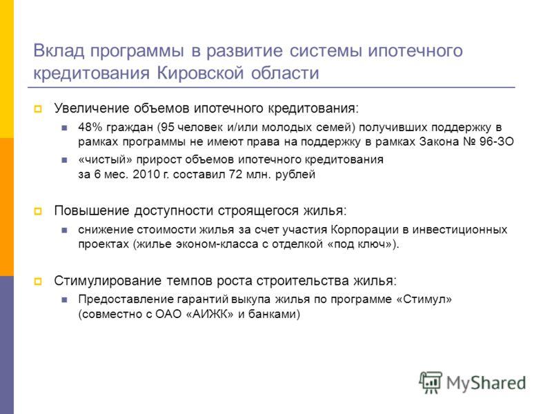 Вклад программы в развитие системы ипотечного кредитования Кировской области Увеличение объемов ипотечного кредитования: 48% граждан (95 человек и/или молодых семей) получивших поддержку в рамках программы не имеют права на поддержку в рамках Закона