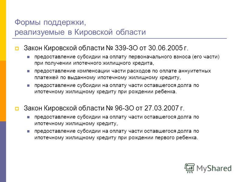 Формы поддержки, реализуемые в Кировской области Закон Кировской области 339-ЗО от 30.06.2005 г. предоставление субсидии на оплату первоначального взноса (его части) при получении ипотечного жилищного кредита, предоставление компенсации части расходо