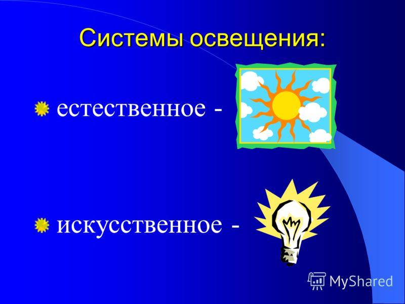 Системы освещения: естественное - искусственное -