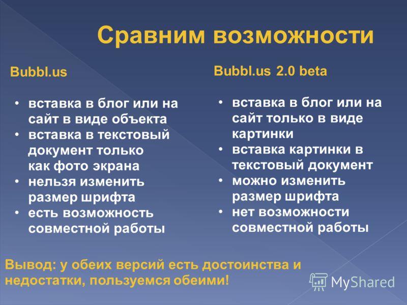 Bubbl.us вставка в блог или на сайт в виде объекта вставка в текстовый документ только как фото экрана нельзя изменить размер шрифта есть возможность совместной работы Bubbl.us 2.0 beta вставка в блог или на сайт только в виде картинки вставка картин