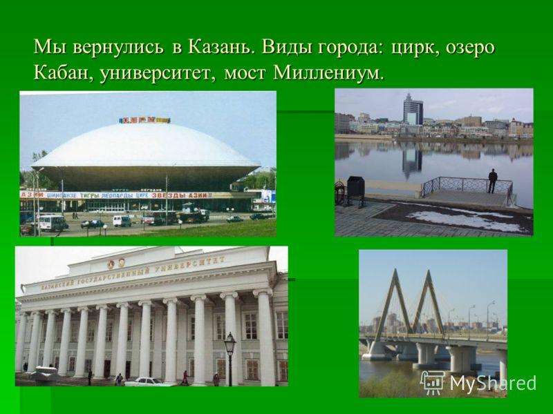Мы вернулись в Казань. Виды города: цирк, озеро Кабан, университет, мост Миллениум.