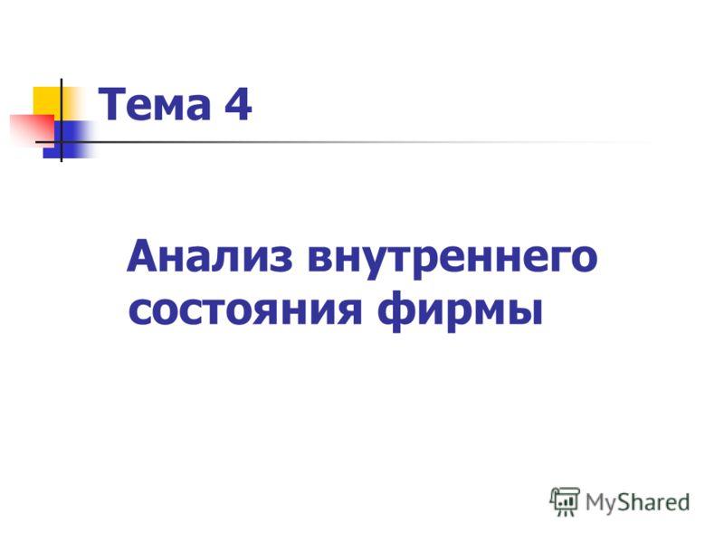 Тема 4 Анализ внутреннего состояния фирмы