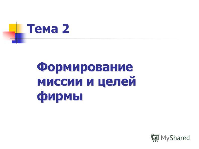 Тема 2 Формирование миссии и целей фирмы