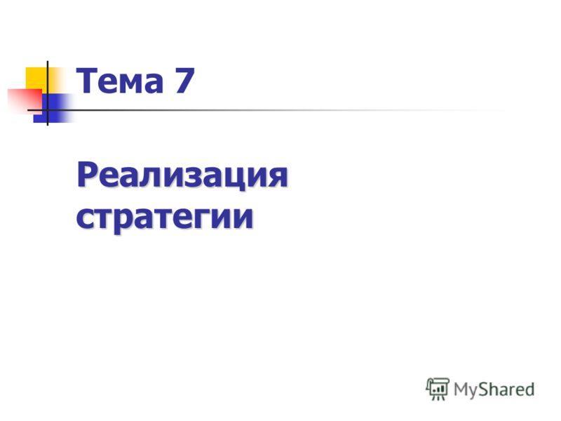 Тема 7 Реализациястратегии