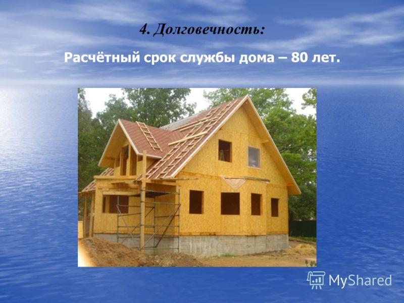4. Долговечность: Расчётный срок службы дома – 80 лет.