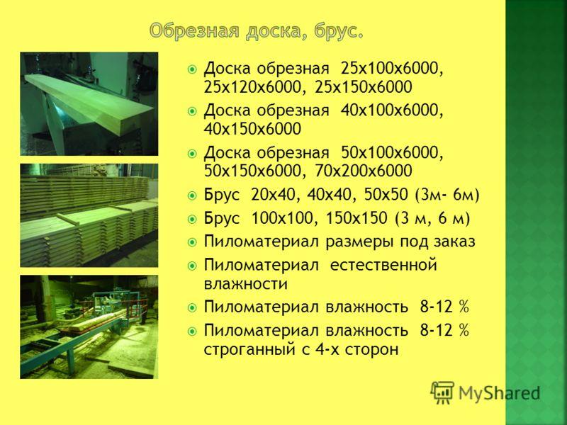 Доска обрезная 25х100х6000, 25х120х6000, 25х150х6000 Доска обрезная 40х100х6000, 40х150х6000 Доска обрезная 50х100х6000, 50х150х6000, 70х200х6000 Брус 20x40, 40х40, 50х50 (3м- 6м) Брус 100х100, 150х150 (3 м, 6 м) Пиломатериал размеры под заказ Пилома