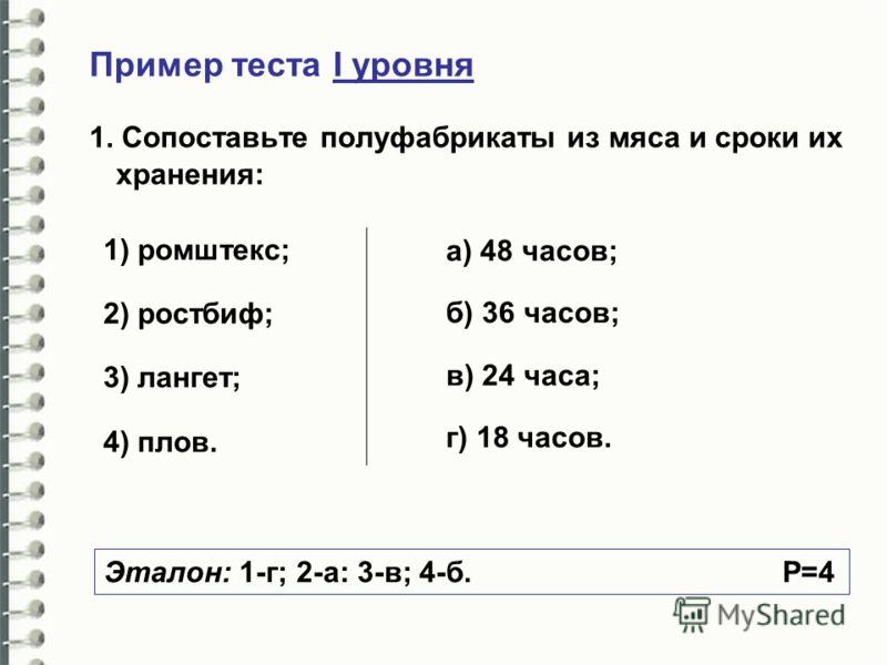 Пример теста I уровня 1. Сопоставьте полуфабрикаты из мяса и сроки их хранения: 1) ромштекс; 2) ростбиф; 3) лангет; 4) плов. а) 48 часов; б) 36 часов; в) 24 часа; г) 18 часов. Эталон: 1-г; 2-а: 3-в; 4-б. Р=4