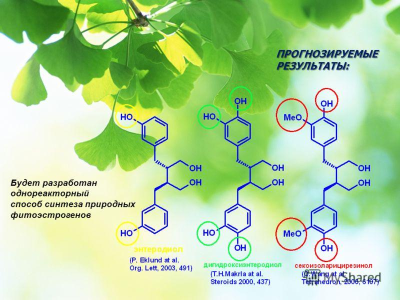 ПРОГНОЗИРУЕМЫЕ РЕЗУЛЬТАТЫ: Будет разработан однореакторный способ синтеза природных фитоэстрогенов