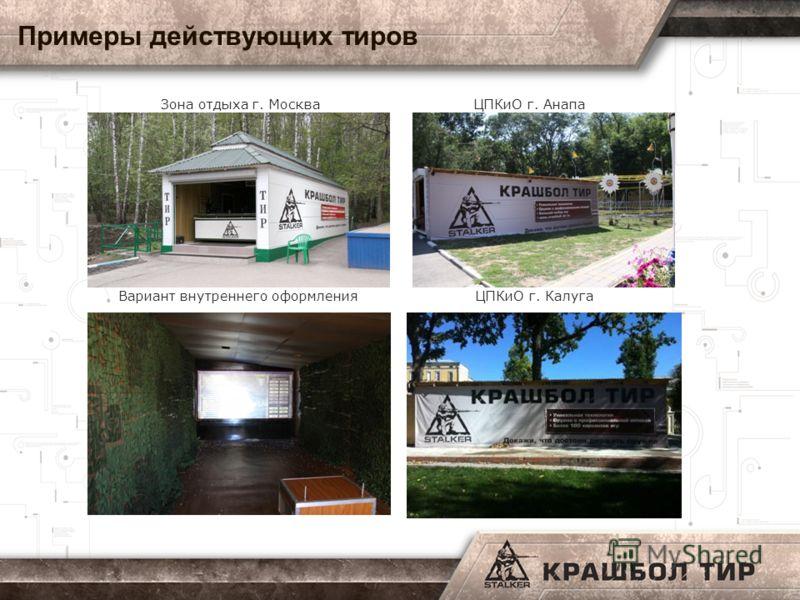 Примеры действующих тиров Зона отдыха г. Москва ЦПКиО г. Анапа Вариант внутреннего оформления ЦПКиО г. Калуга