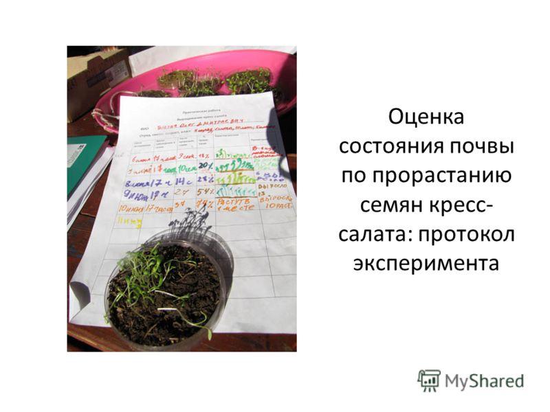 Оценка состояния почвы по прорастанию семян кресс- салата: протокол эксперимента
