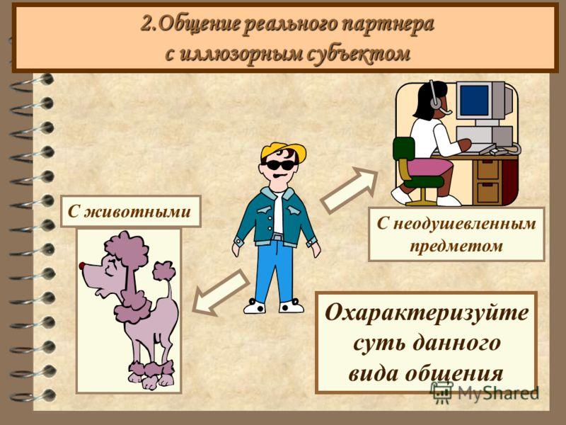 2.Общение реального партнера с иллюзорным субъектом С животными Охарактеризуйте суть данного вида общения С неодушевленным предметом