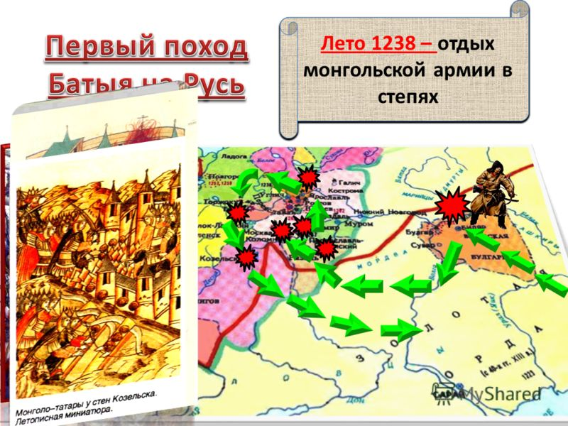 1236 г. – монголы разгромили Волжскую Булгарию 1237 г. – подчинили половцев, подготовка к походу на Русь 1237 г. – осада и захват Рязани Евпатий Коловрат - защитник Рязани «Плач Евпраксии» Январь 1238 г. – Взятие Коломны Москвы Февраль 1238 – взятие