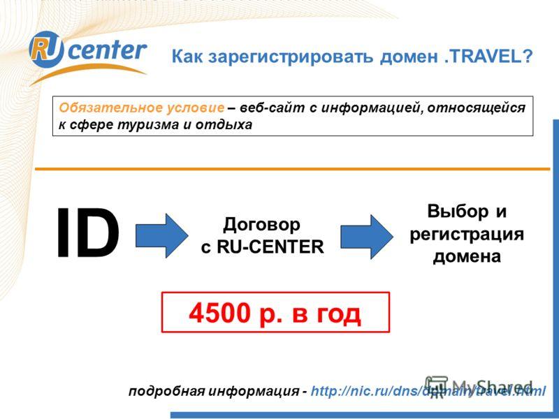 Как работает домен TEL? Как зарегистрировать домен.TRAVEL? Обязательное условие – веб-сайт с информацией, относящейся к сфере туризма и отдыха ID Договор с RU-CENTER Выбор и регистрация домена подробная информация - http://nic.ru/dns/domain/travel.ht
