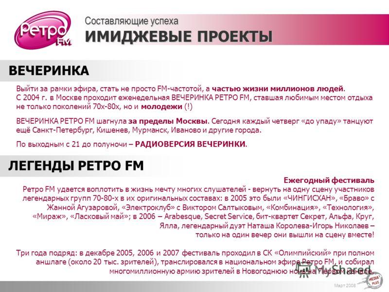Март 2008 Выйти за рамки эфира, стать не просто FM-частотой, а частью жизни миллионов людей. С 2004 г. в Москве проходит еженедельная ВЕЧЕРИНКА РЕТРО FM, ставшая любимым местом отдыха не только поколений 70х-80х, но и молодежи (!) ВЕЧЕРИНКА РЕТРО FM