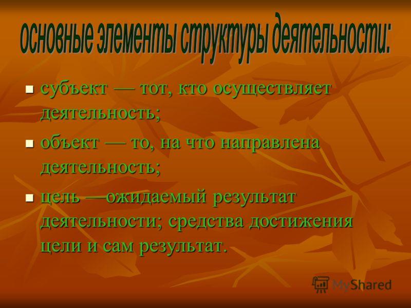 субъект тот, кто осуществляет деятельность; субъект тот, кто осуществляет деятельность; объект то, на что направлена деятельность; объект то, на что направлена деятельность; цель ожидаемый результат деятельности; средства достижения цели и сам резуль