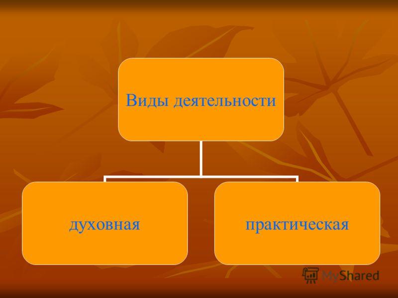 Виды деятельности духовнаяпрактическая