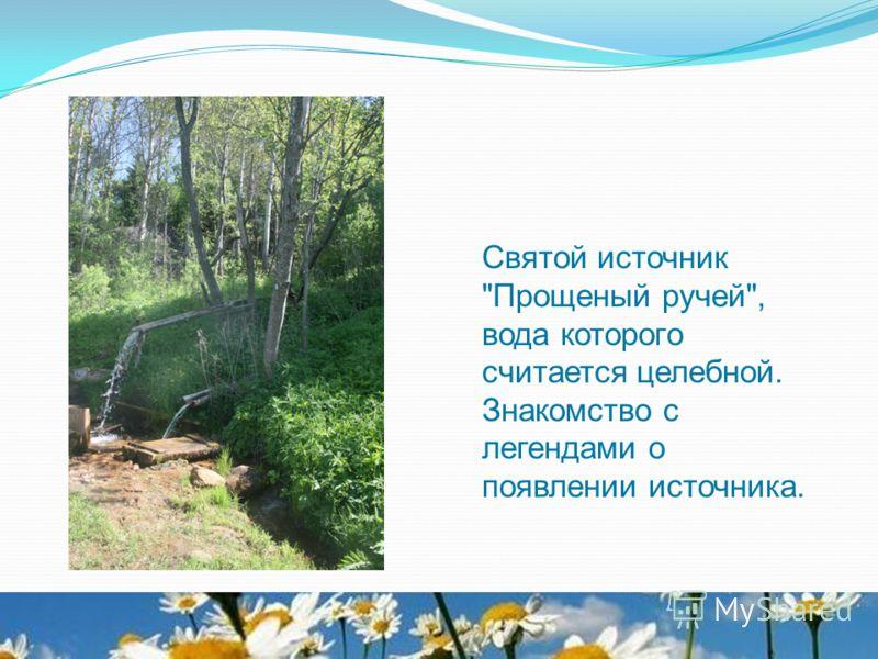 Святой источник Прощеный ручей, вода которого считается целебной. Знакомство с легендами о появлении источника.