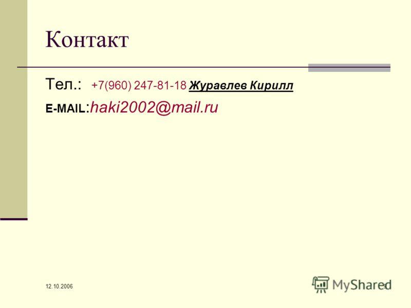 12.10.2006 9 Контакт Тел.: +7(960) 247-81-18 Журавлев Кирилл E-MAIL :haki2002@mail.ru