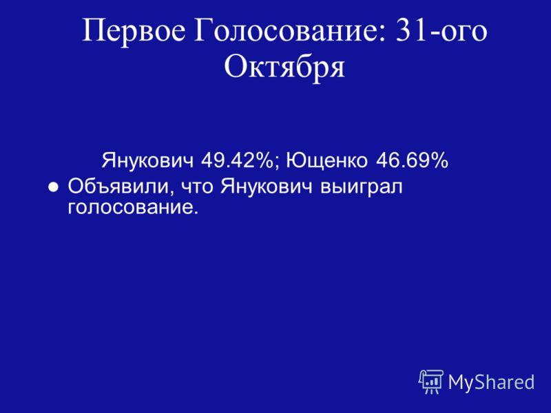 Первое Голосование: 31-ого Октября Янукович 49.42%; Ющенко 46.69% Объявили, что Янукович выиграл голосование.