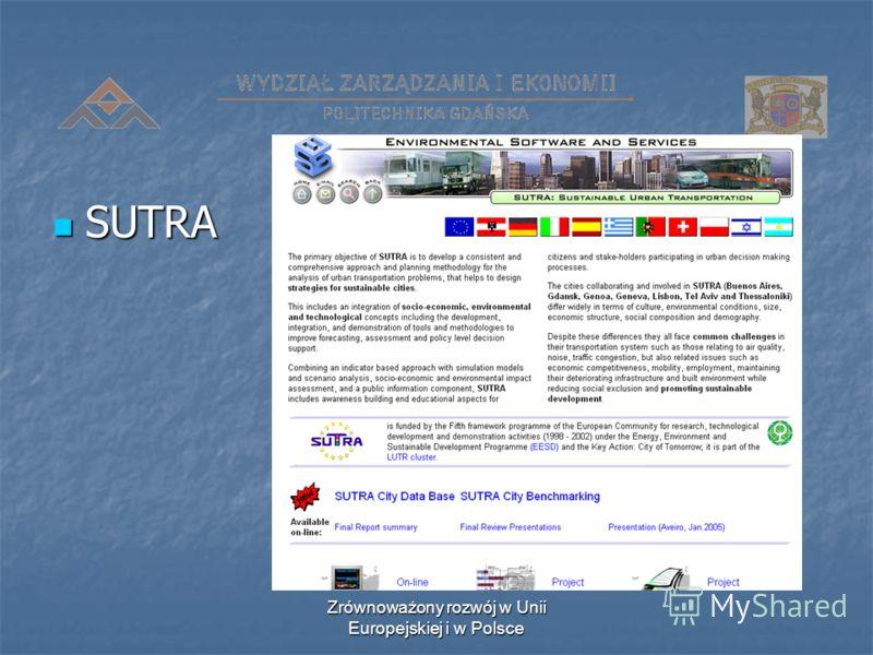 Zrównoważony rozwój w Unii Europejskiej i w Polsce SUTRA