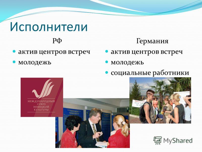 Исполнители РФ актив центров встреч молодежь Германия актив центров встреч молодежь социальные работники