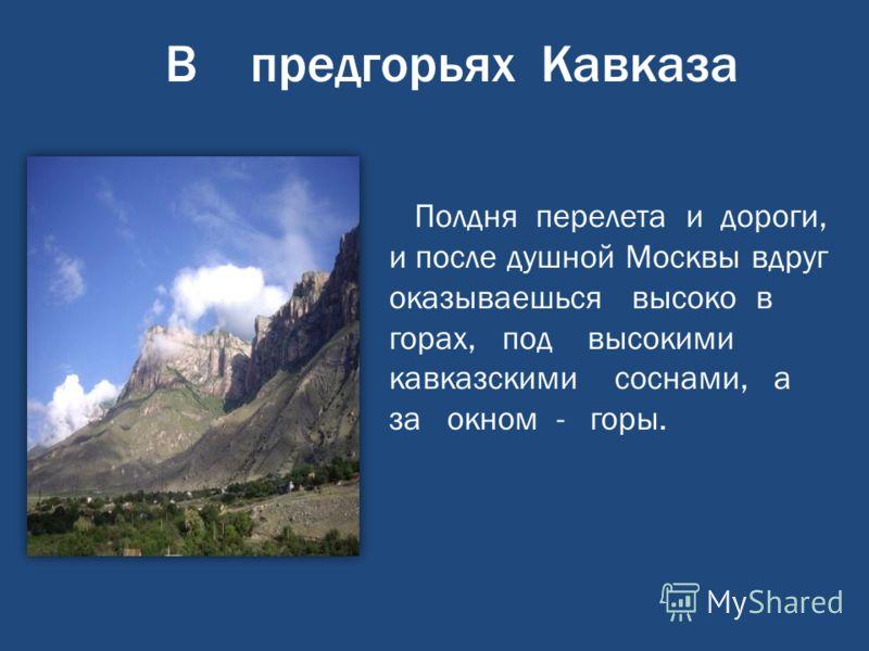В предгорьях Кавказа Полдня перелета и дороги, и после душной Москвы вдруг оказываешься высоко в горах, под высокими кавказскими соснами, а за окном - горы.