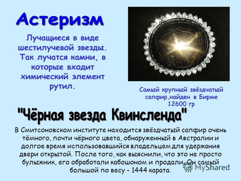 Самый крупный звёздчатый сапфир,найден в Бирме 12600 гр В Смитсоновском институте находится звёздчатый сапфир очень тёмного, почти чёрного цвета, обнаруженный в Австралии и долгое время использовавшийся владельцем для удержания двери открытой. После