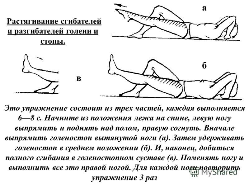 Растягивание сгибателей и разгибателей голени и стопы. Это упражнение состоит из трех частей, каждая выполняется 68 с. Начните из положения лежа на спине, левую ногу выпрямить и поднять над полом, правую согнуть. Вначале выпрямить голеностоп вытянуто