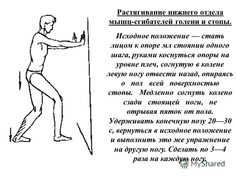 Растягивание нижнего отдела мышц-сгибателей голени и стопы. Исходное положение стать лицом к опоре мл стоянии одного шага, руками коснуться опоры на уровне плеч, согнутую в колене левую ногу отвести назад, опираясь о пол всей поверхностью стопы. Медл