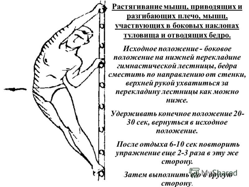 Растягивание мышц, приводящих и разгибающих плечо, мышц, участвующих в боковых наклонах туловища и отводящих бедро. Исходное положение - боковое положение на нижней перекладине гимнастической лестницы, бедра сместить по направлению от стенки, верхней
