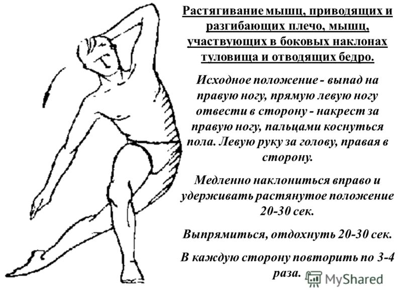 Растягивание мышц, приводящих и разгибающих плечо, мышц, участвующих в боковых наклонах туловища и отводящих бедро. Исходное положение - выпад на правую ногу, прямую левую ногу отвести в сторону - накрест за правую ногу, пальцами коснуться пола. Леву