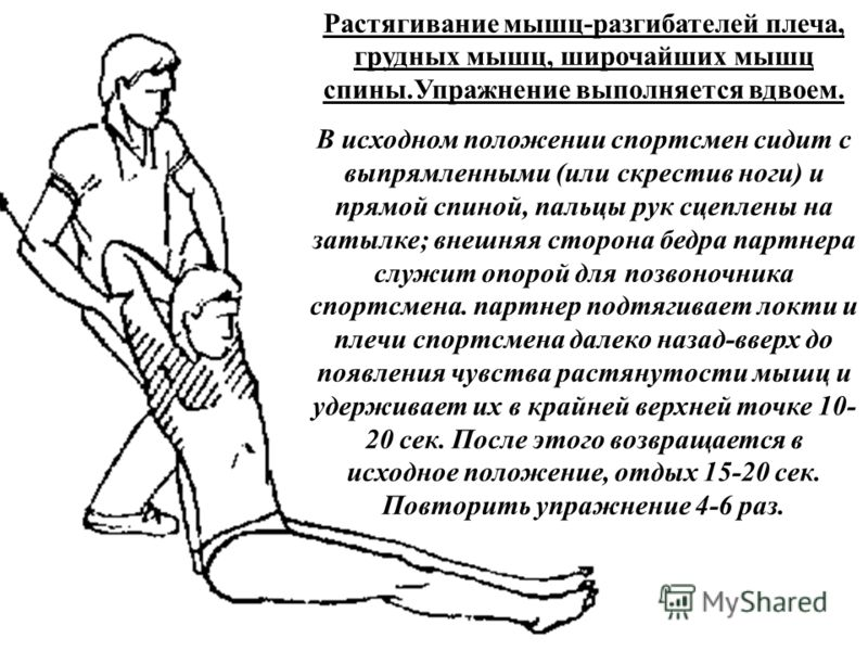 Растягивание мышц-разгибателей плеча, грудных мышц, широчайших мышц спины.Упражнение выполняется вдвоем. В исходном положении спортсмен сидит с выпрямленными (или скрестив ноги) и прямой спиной, пальцы рук сцеплены на затылке; внешняя сторона бедра п