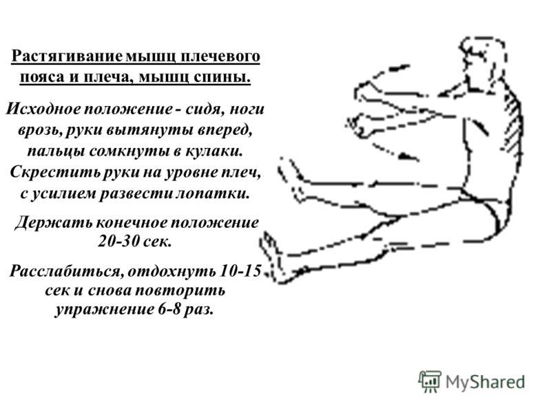 Растягивание мышц плечевого пояса и плеча, мышц спины. Исходное положение - сидя, ноги врозь, руки вытянуты вперед, пальцы сомкнуты в кулаки. Скрестить руки на уровне плеч, с усилием развести лопатки. Держать конечное положение 20-30 сек. Расслабитьс