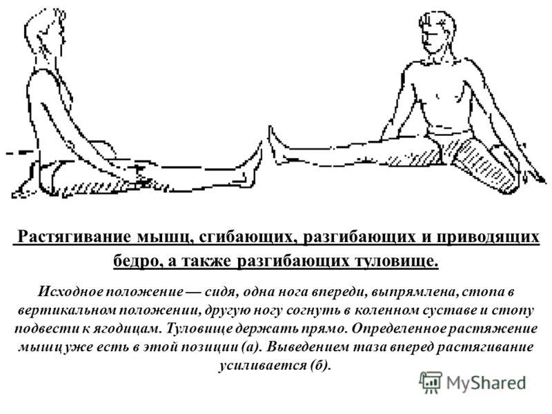 а б Растягивание мышц, сгибающих, разгибающих и приводящих бедро, а также разгибающих туловище. Исходное положение сидя, одна нога впереди, выпрямлена, стопа в вертикальном положении, другую ногу согнуть в коленном суставе и стопу подвести к ягодицам