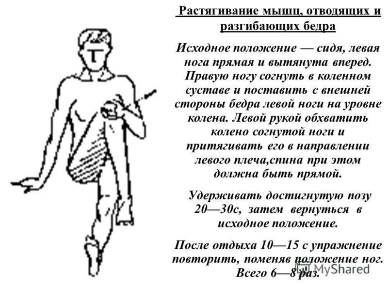 Растягивание мышц, отводящих и разгибающих бедра Исходное положение сидя, левая нога прямая и вытянута вперед. Правую ногу согнуть в коленном суставе и поставить с внешней стороны бедра левой ноги на уровне колена. Левой рукой обхватить колено согнут