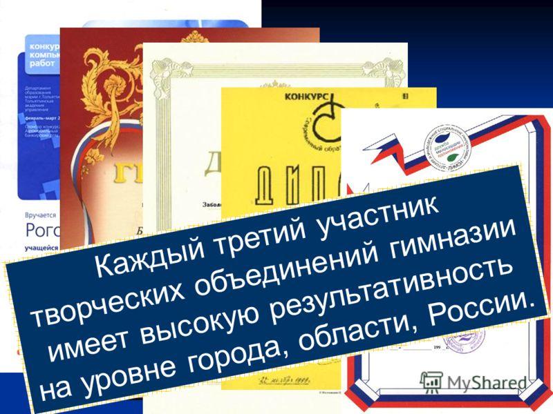 Каждый третий участник творческих объединений гимназии имеет высокую результативность на уровне города, области, России.