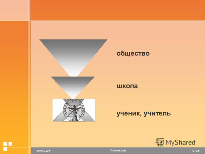 Стр. 620.01.2006 Презентация общество школа ученик, учитель