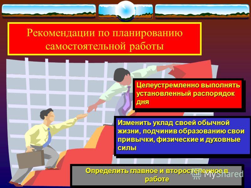 Научная организация самостоятельной работы предполагает:- максимум эффективности при минимуме затрат времени, сил и средств. максимальная экономия и эффективное распределение времени, отводимого на самостоятельную работу; создание и умелое использова