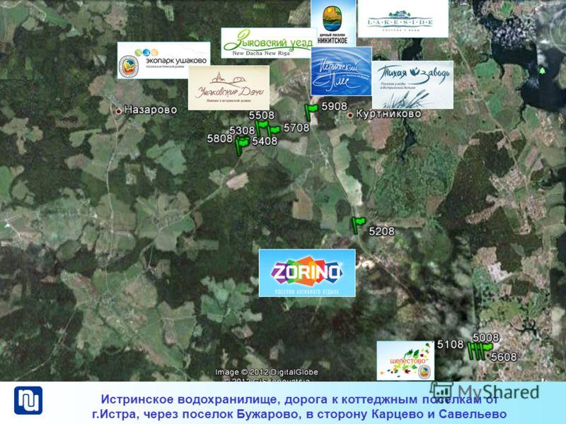 Истринское водохранилище, дорога к коттеджным поселкам от г.Истра, через поселок Бужарово, в сторону Карцево и Савельево