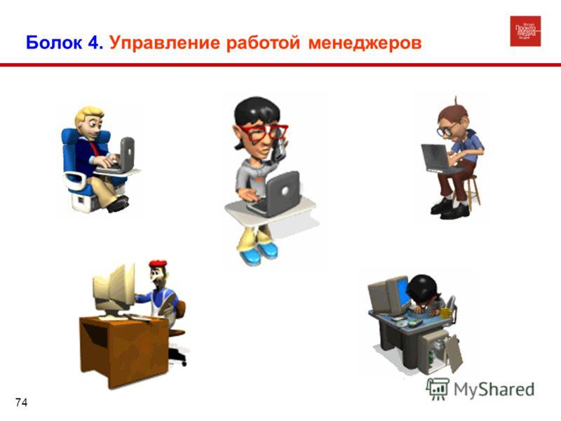Болок 4. Управление работой менеджеров 74