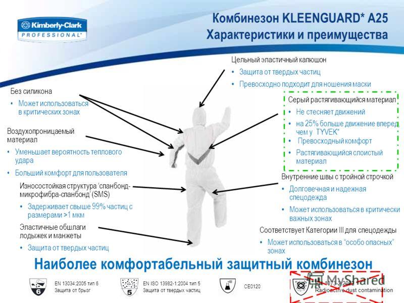 Комбинезон KLEENGUARD* A25 Характеристики и преимущества Наиболее комфортабельный защитный комбинезон EN 13034:2005 тип 6 Защита от брызг EN ISO 13982-1:2004 тип 5 Защита от твердых частиц CE0120 Без силикона Может использоваться в критических зонах