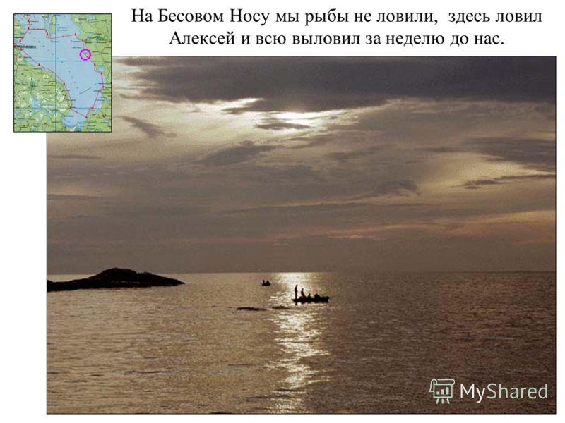 На Бесовом Носу мы рыбы не ловили, здесь ловил Алексей и всю выловил за неделю до нас.