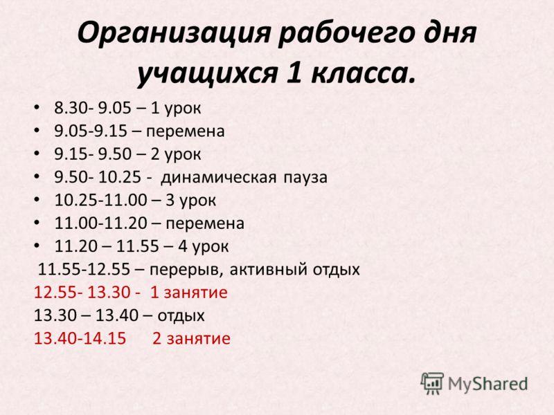 Организация рабочего дня учащихся 1 класса. 8.30- 9.05 – 1 урок 9.05-9.15 – перемена 9.15- 9.50 – 2 урок 9.50- 10.25 - динамическая пауза 10.25-11.00 – 3 урок 11.00-11.20 – перемена 11.20 – 11.55 – 4 урок 11.55-12.55 – перерыв, активный отдых 12.55-