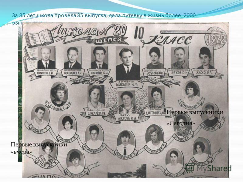 За 85 лет школа провела 85 выпуска, дала путевку в жизнь более 2000 выпускникам. Первые выпускники «вчера» Первые выпускники «Сегодня»