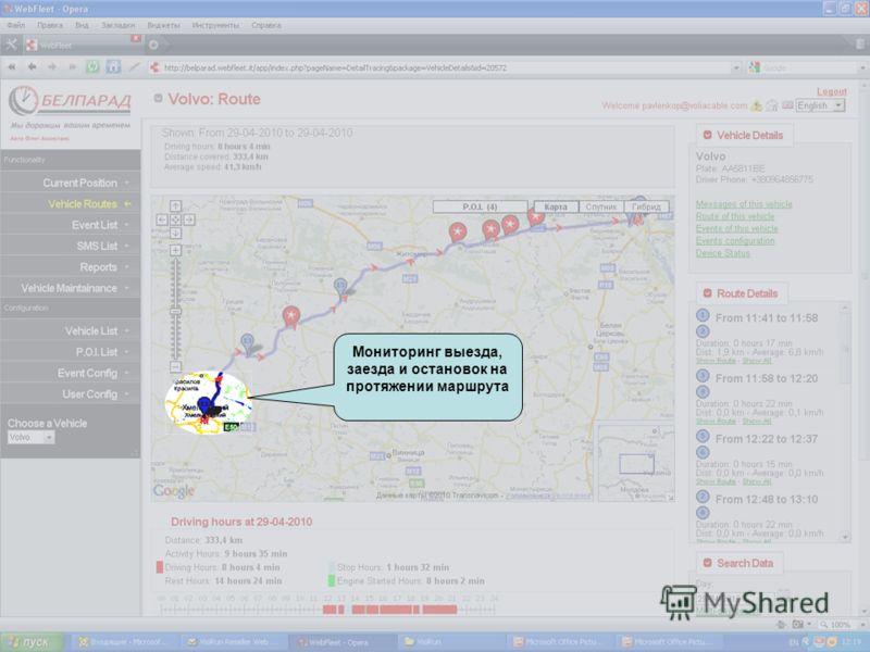Мониторинг выезда, заезда и остановок на протяжении маршрута