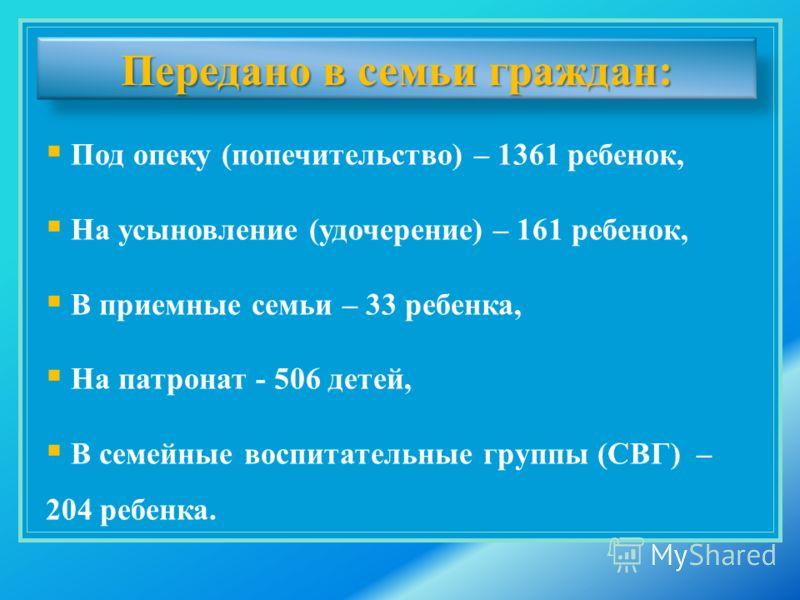 Под опеку (попечительство) – 1361 ребенок, На усыновление (удочерение) – 161 ребенок, В приемные семьи – 33 ребенка, На патронат - 506 детей, В семейные воспитательные группы (СВГ) – 204 ребенка. Передано в семьи граждан:
