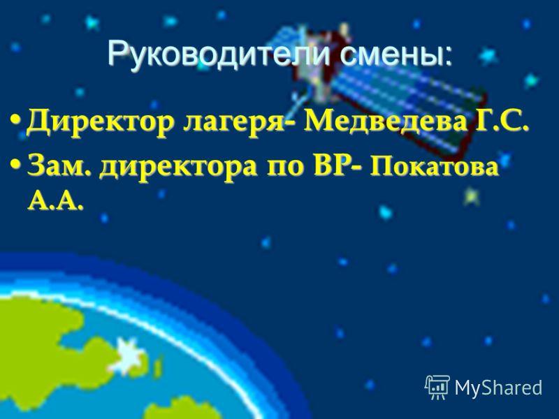 Руководители смены: Директор лагеря- Медведева Г.С. Директор лагеря- Медведева Г.С. Зам. директора по ВР- Покатова А.А. Зам. директора по ВР- Покатова А.А.