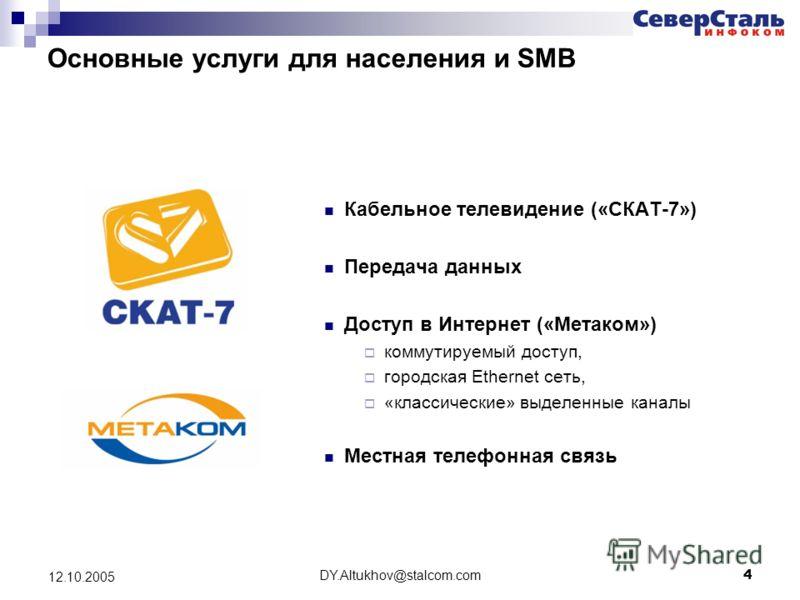 DY.Altukhov@stalcom.com 4 12.10.2005 Основные услуги для населения и SMB Кабельное телевидение («СКАТ-7») Передача данных Доступ в Интернет («Метаком») коммутируемый доступ, городская Ethernet сеть, «классические» выделенные каналы Местная телефонная