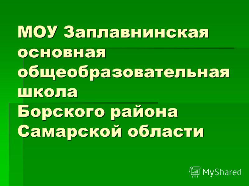 МОУ Заплавнинская основная общеобразовательная школа Борского района Самарской области
